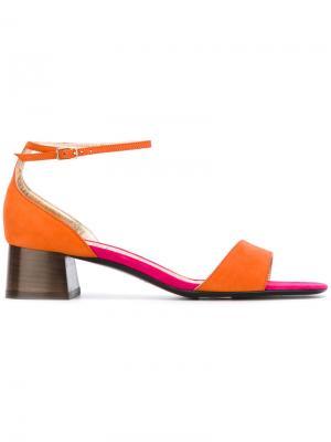Босоножки на каблуке Michel Vivien. Цвет: жёлтый и оранжевый