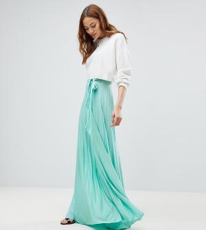 ASOS Tall Плиссированная юбка макси с поясом. Цвет: зеленый