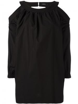 Блузка с вырезными деталями на плечах Wandering. Цвет: чёрный