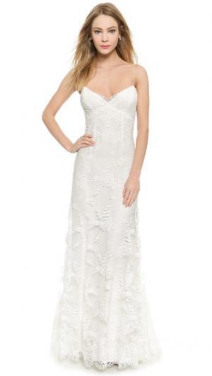 Вечернее платье Sienna из кружева шантильи Monique Lhuillier. Цвет: белый шелк