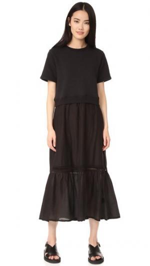 Платье-толстовка из комбинированных материалов Clu. Цвет: голубой