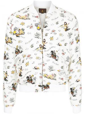 Куртка-бомбер  с комбинированным принтом Hysteric Glamour. Цвет: белый
