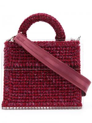 Блестящая сумка-тоут Katerina Copacabana 711. Цвет: красный