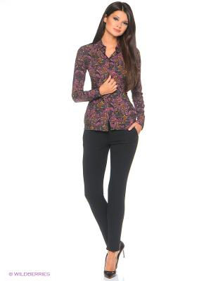 Рубашка на любой рост из вискозы с модным принтом OLENNY. Цвет: бежевый, оранжевый, горчичный, черный, бирюзовый, лиловый