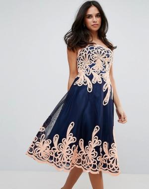 Forever Unique Платье миди в стиле барокко без бретелек. Цвет: черный
