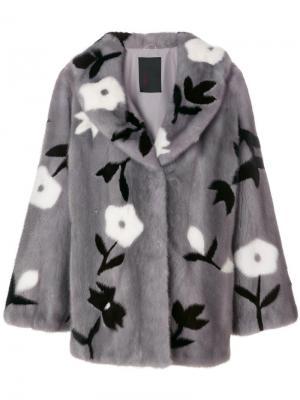 Норковая шуба с цветочным узором Liska. Цвет: серый