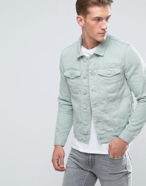 River Island Светло-бирюзовая джинсовая куртка. Цвет: зеленый