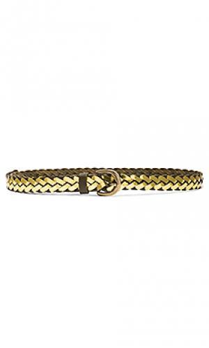 Плетенный поясной ремень с металликом Linea Pelle. Цвет: металлический золотой