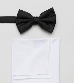New Look Черный галстук-бабочка и белый платок-паше в наборе. Цвет: черный