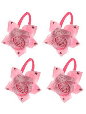 Бантики для волос на длинных резинках крупная розочка в стразиках, набор 2 по шт, светло-розовые Радужки. Цвет: бледно-розовый