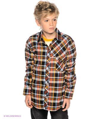 Рубашка Sabotage. Цвет: коричневый, желтый, синий