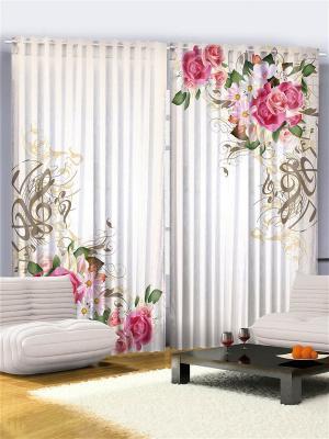 Фото шторы бежевые Розовые розы и космеи, коричневые скрипичные ключи узоры Magic Lady. Цвет: розовый, зеленый, коричневый, бежевый
