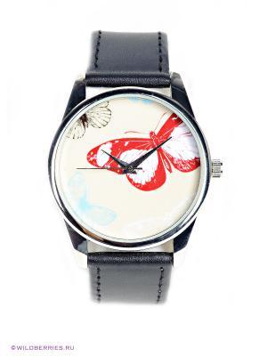 Часы Цветные бабочки Mitya Veselkov. Цвет: черный, молочный, красный