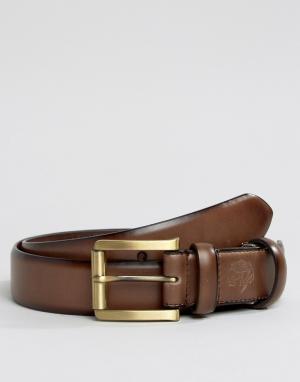 William Hunt Узкий коричневый кожаный ремень в строгом стиле. Цвет: коричневый