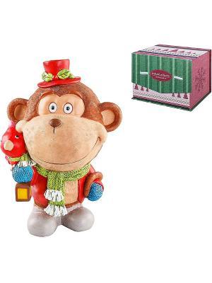 Статуэтка Обезьянка Mister Christmas. Цвет: коричневый, красный
