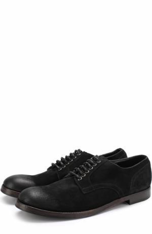 Замшевые дерби Siracusa на шнуровке Dolce & Gabbana. Цвет: черный