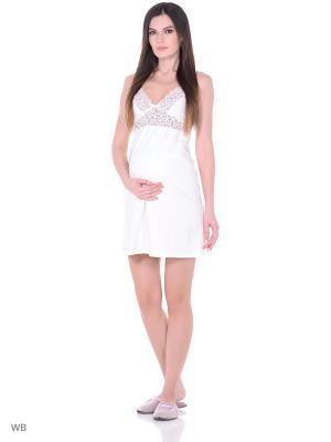 Сорочка женская для беременных и кормящих Hunny Mammy. Цвет: молочный