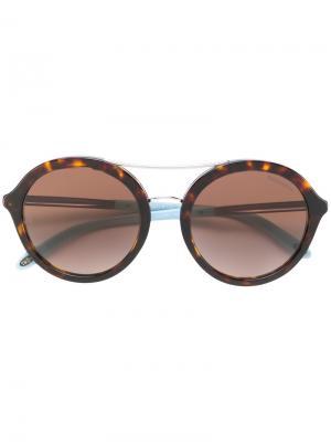 Круглые солнцезащитные очки с черепаховым узором Tiffany & Co.. Цвет: коричневый
