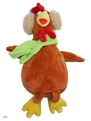 Мягкая игрушка Петушок в наушниках с шарфом, 30см А М Дизайн. Цвет: темно-красный