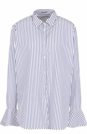 Хлопковая блуза в полоску с расклешенными рукавами MRZ. Цвет: синий