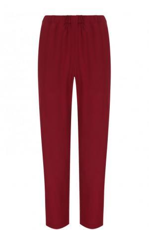 Однотонные укороченные брюки Marni. Цвет: бордовый