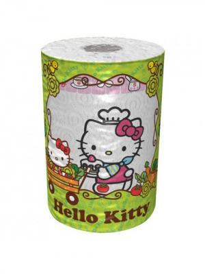 Полотенце кухонное Hellо Kitty 3-х слойное, 1 рулон, 150 листов, 34.5 м World Cart. Цвет: белый