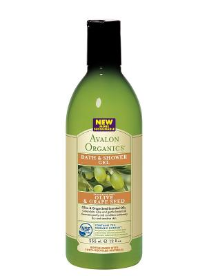 Гель для ванны и душа с маслом оливы косточек винограда,355 мл Avalon Organics. Цвет: прозрачный