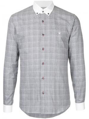 Рубашка в клетку Loveless. Цвет: серый