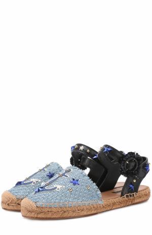 Плетеные эспадрильи с аппликациями и заклепками Dolce & Gabbana. Цвет: голубой