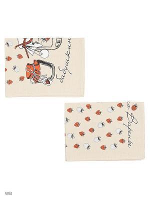 Полотенца Бабушкино варенье, 2 шт., с петелькой GrandStyle. Цвет: светло-бежевый, красный, черный