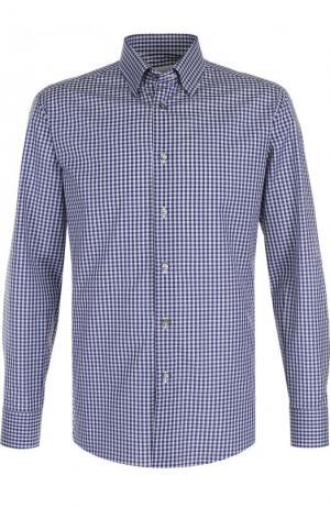 Хлопковая рубашка с воротником кент Brioni. Цвет: темно-синий