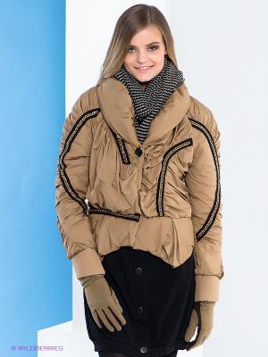 Куртка Say. Цвет: светло-коричневый, золотистый, черный