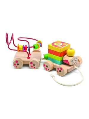 Развивающая игрушка паровозик Чух-Чух игровой набор БОМИК. Цвет: бежевый