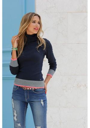 Пуловер AJC. Цвет: серый меланжевый, синий, черный