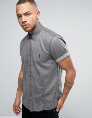 Religion Джинсовая рубашка с короткими рукавами. Цвет: серый