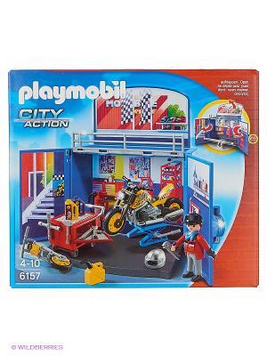 Возьми с собой: Мастерская мотоциклов Playmobil. Цвет: синий, красный
