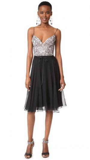 Платье с нарядным лифом Monique Lhuillier. Цвет: белый шелк/черный