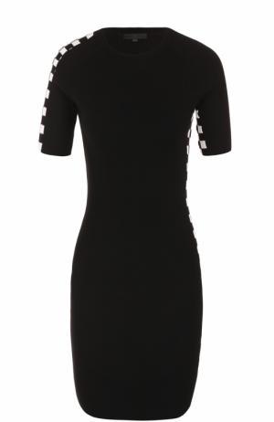 Вязаное мини-платье с контрастной отделкой Alexander Wang. Цвет: черно-белый