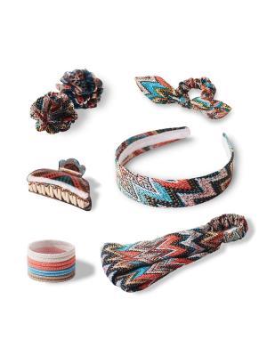 Комплект аксессуаров для волос SENSUAL ETHNIC ESLI. Цвет: бирюзовый, бледно-розовый, коралловый, коричневый
