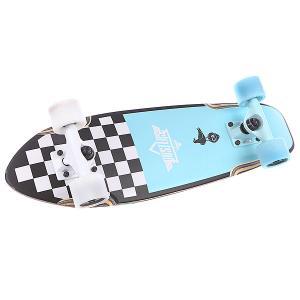 Скейт мини круизер  S5 Bird Checker Cruiser 7.1 x 25 (63.5 см) Dusters. Цвет: белый,черный,голубой