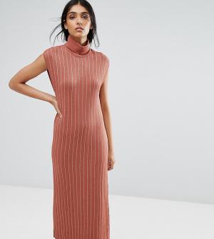 ADPT Трикотажное платье макси с высоким воротом Tall. Цвет: медный