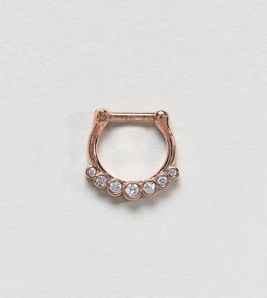 Kingsley Ryan Кольцо для пирсинга цвета розового золота со стразами. Цвет: золотой