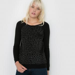 Пуловер Pia с анималистическим рисунком SUNCOO. Цвет: черный