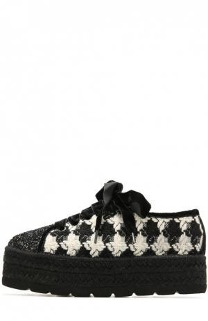 Текстильные ботинки с глиттером Baldan. Цвет: черный
