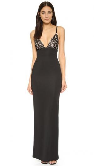 Макси-платье Hype AQ/AQ. Цвет: черный/телесный