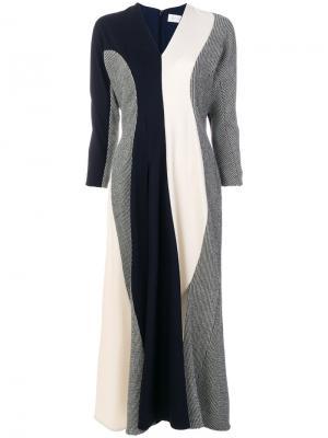 Платье с V-образным вырезом и вставками Victoria Beckham. Цвет: телесный