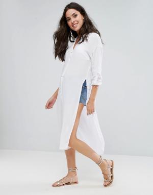 New Look Длинное пляжное платье-рубашка. Цвет: белый