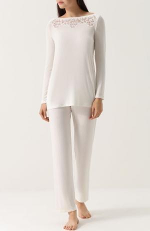 Однотонная пижама с кружевными вставками Ritratti Milano. Цвет: белый