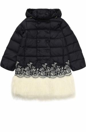 Пуховое пальто с декоративной отделкой Ermanno Scervino. Цвет: синий