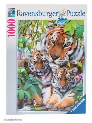 Пазл Семья тигров, 1000 элементов Ravensburger. Цвет: зеленый, коричневый, сиреневый